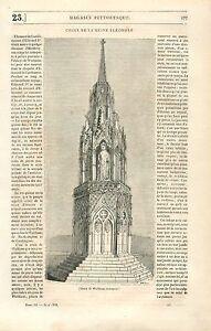 Croix-d-039-Eleonore-de-Castille-a-Waltham-Cross-Hertfordshire-UK-GRAVURE-PRINT-1835