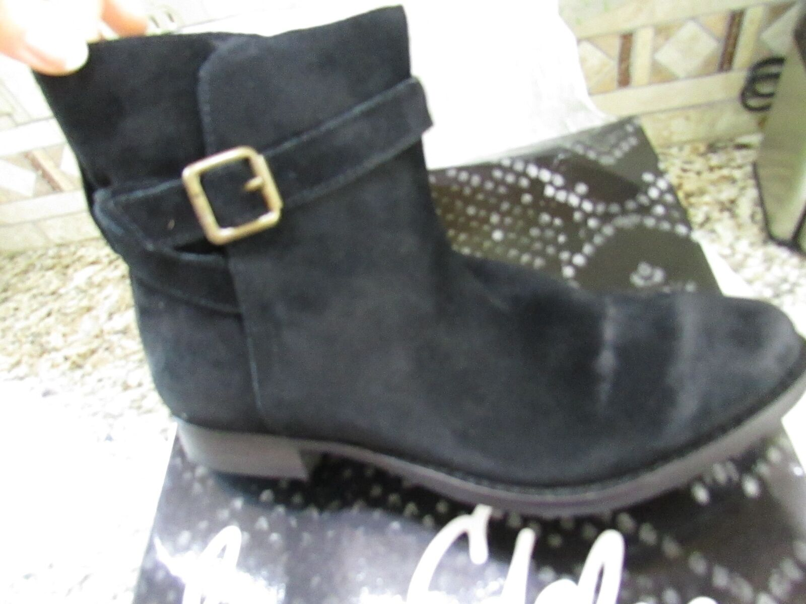 NEW SAM EDELMAN MALONE BLACK SUEDE ANKLE BOOTIES BOOTS WOMENS 6 FREE SHIP