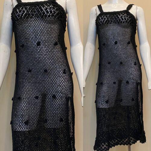 Vtg 30s 40s Crochet Knit MIDIi Dress 3D Swirled Sc