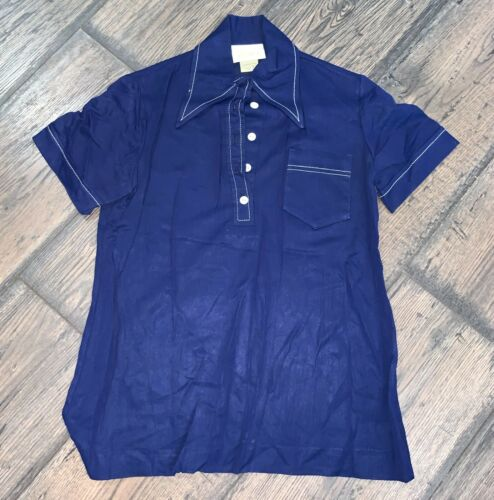 Vtg 40's 50's ? Jantzen Mens Beach Shirt Blue SZ S