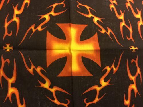 MALTESE CROSS AND TRIBAL FLAMES IN BLACK BACGROUND BANDANA100/% COTTON.