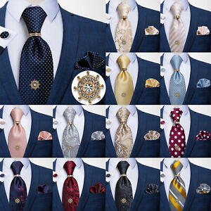Mens-Silk-Necktie-Tie-Tack-Clutch-with-Chain-Metal-Tie-Pin-Hanky-Cufflinks-Set