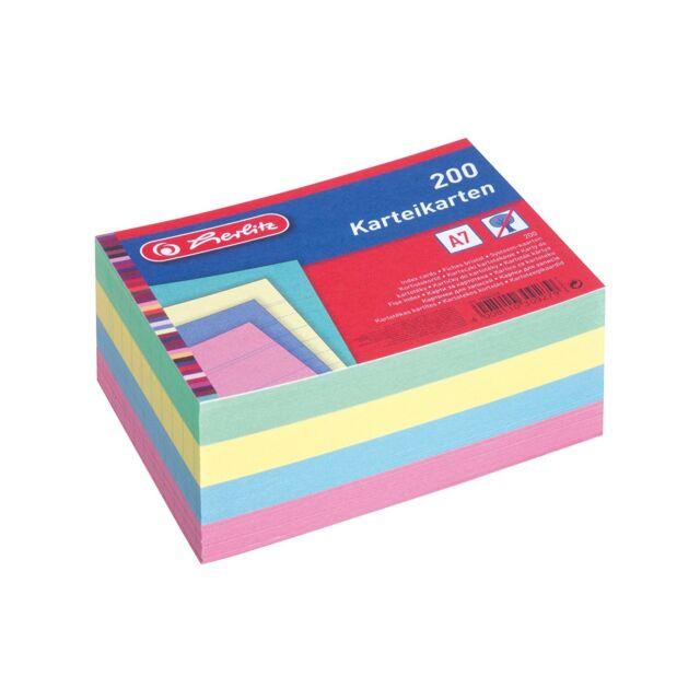 Karteikarten liniert 0,02€//Stück DIN A6 170 farbig sortiert Herlitz
