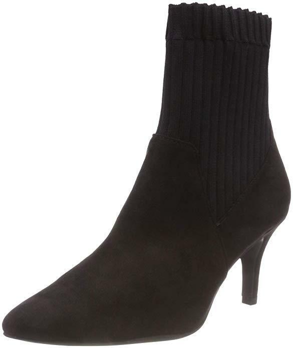 NEW ..MARCO TOZZI BLACK FAUX SUEDE ANKLE BOOTS WITH STRETCH RIBBING