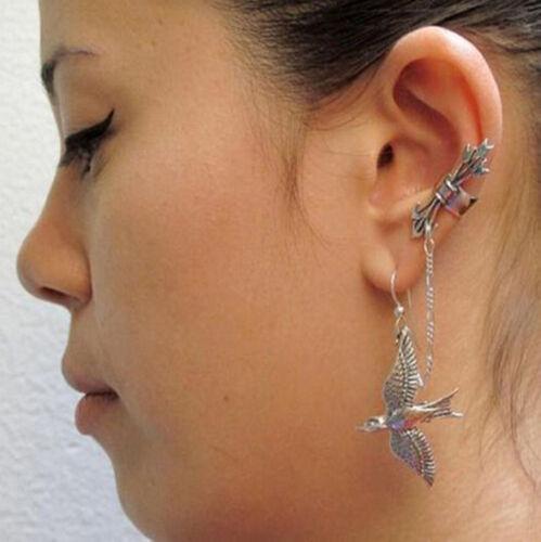 Clip de oreja de Metal Punk de Moda Cristal oreja dobladillo Stud Mujer Cartílago Pendiente Nuevo