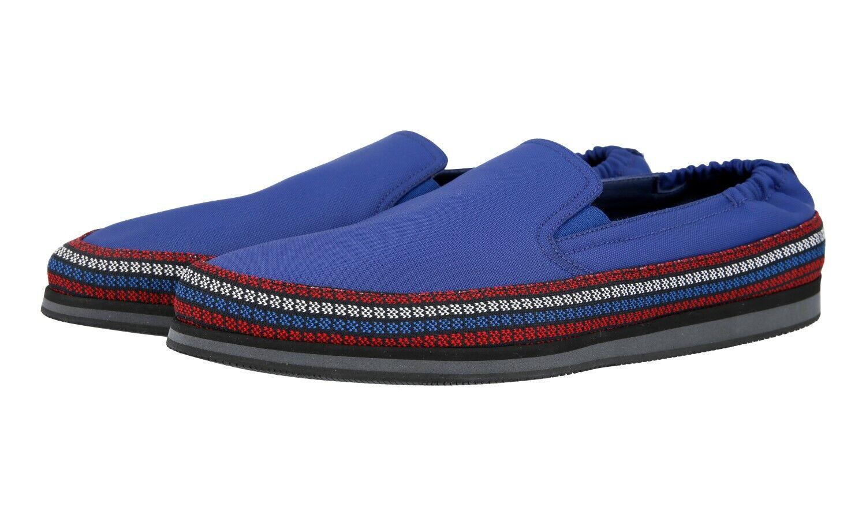 Auth LUXURY PRADA Slip On Scarpe scarpe da ginnastica Blu 4D2363 NUOVO 10 44 44,5