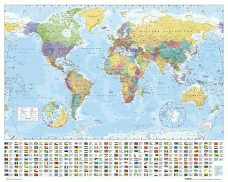 Poster Map of the World with Flags Mini 50 x 40cm