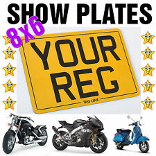 """8X6 MOTORCYCLE BIKE SHOW STYLE SMALL REG NUMBER PLATE *FREE FIXINGS* 8""""x6"""""""