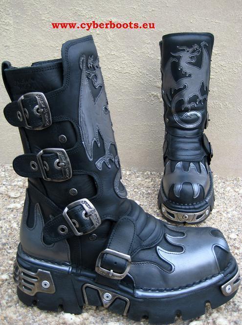 New Rock Gothic Biker Stiefel Ackbar schwarz silbern Größen von 40 und 41