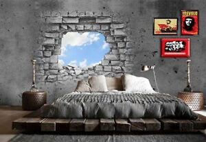 3d loch in der wand 3 fototapeten wandbild fototapete bild tapete familie kinder ebay. Black Bedroom Furniture Sets. Home Design Ideas