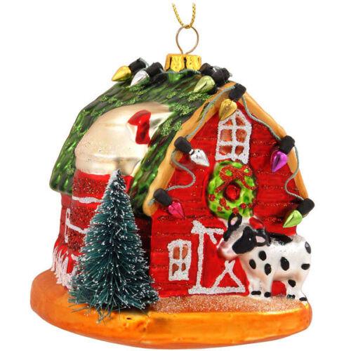 Barn w//Lights /& Cow Glass Ornament