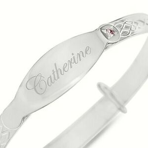 Personalised-Baby-Bangle-Real-Silver-Bangle-Christening-Gift-Pink-925-Sterling