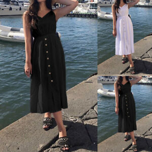 UK-8-26-Womens-Holiday-Beach-Midi-Dress-Ladies-Summer-Strappy-Button-Sun-Dresses