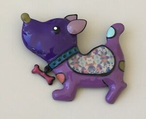 Adorable-artistic-large-dog-Pin-Brooch-enamel-on-Metal