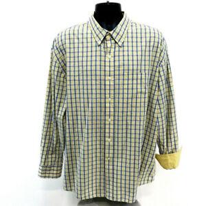 Izod-Yellow-Blue-Plaid-Button-Front-Shirt-Mens-XXL-2XL-Flip-Cuff-Long-Sleeve