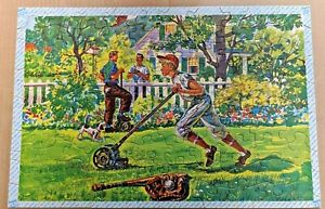 1961-TUCO-Picture-Puzzle-100-Pc-Children-Working-Before-Play-Baseball-Lawn-Mow