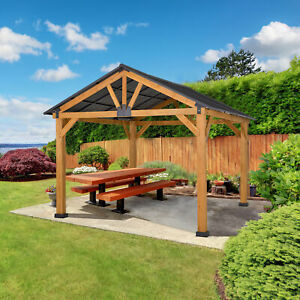 Outsunny 13' x 11' Wooden Gazebo Canopy Outdoor Sun Shade Shelter w/ Steel Roof