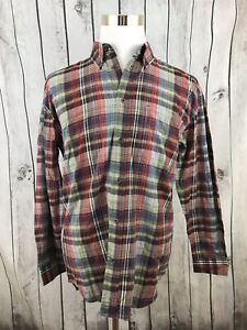 Wrangler-Hero-Mens-Multicolor-Plaid-Long-Sleeve-Button-Down-Shirt-Metal-Button-M