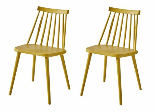 Plastic Dining Chairs Set of 2 Hollow Out for Kitchen Lounge Living Room Yellow
