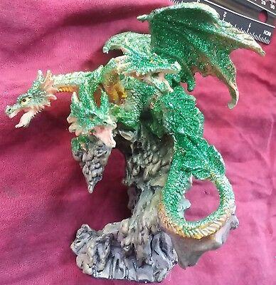 New 3 Headed Green Earth Dragon Hydra 4 5 Figure Fantasy Statue Magic Ebay