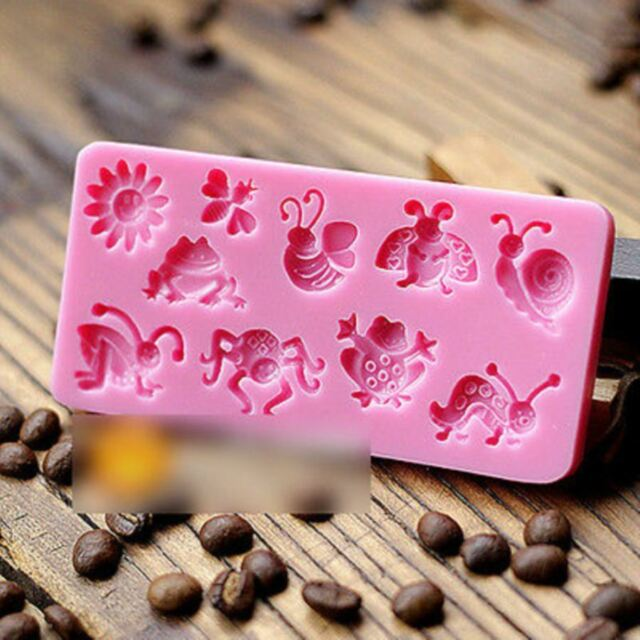 3D Silicone Fondant Decorating Rectangle Animal Insect Modelling Cake Mold Tool