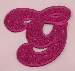 Details about Embroidered Glitter Pink Retro Bubble Monogram Letter G  Applique Patch Iron On