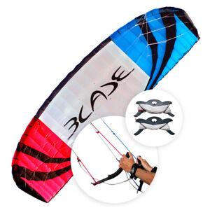 NEU-Flexifoil-4-9m-Blade-Kite-2021-Sport-drachen-mit-Leinen-und-Griffen