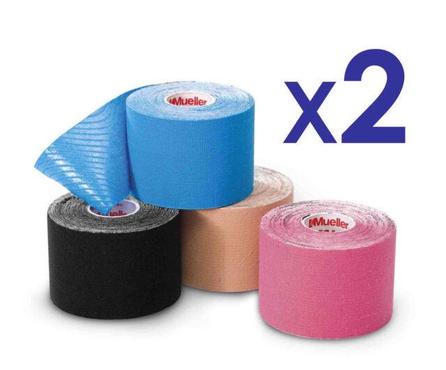 Mueller Kinesiology Sports K Tape 5cm x 5m BLUE TWIN Pack Muscle Fascia Oedema