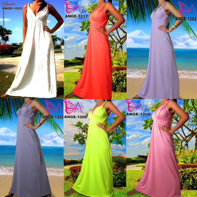 Angela NEW Plain Summer Beach Evening/Cocktail Long Women Maxi Dress 8- 26 UK