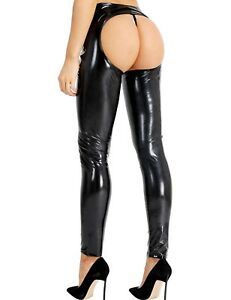 4aacbff2df4e8 Womens Wet Look PVC Leather Legging Pants Open Crotch & Butt Shiny ...