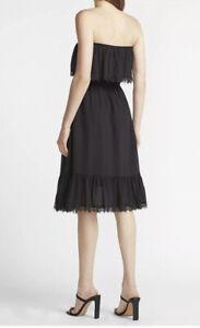 NWT $88.00 Express Strapless Lace Trim Midi Dress Lined Black Size XL