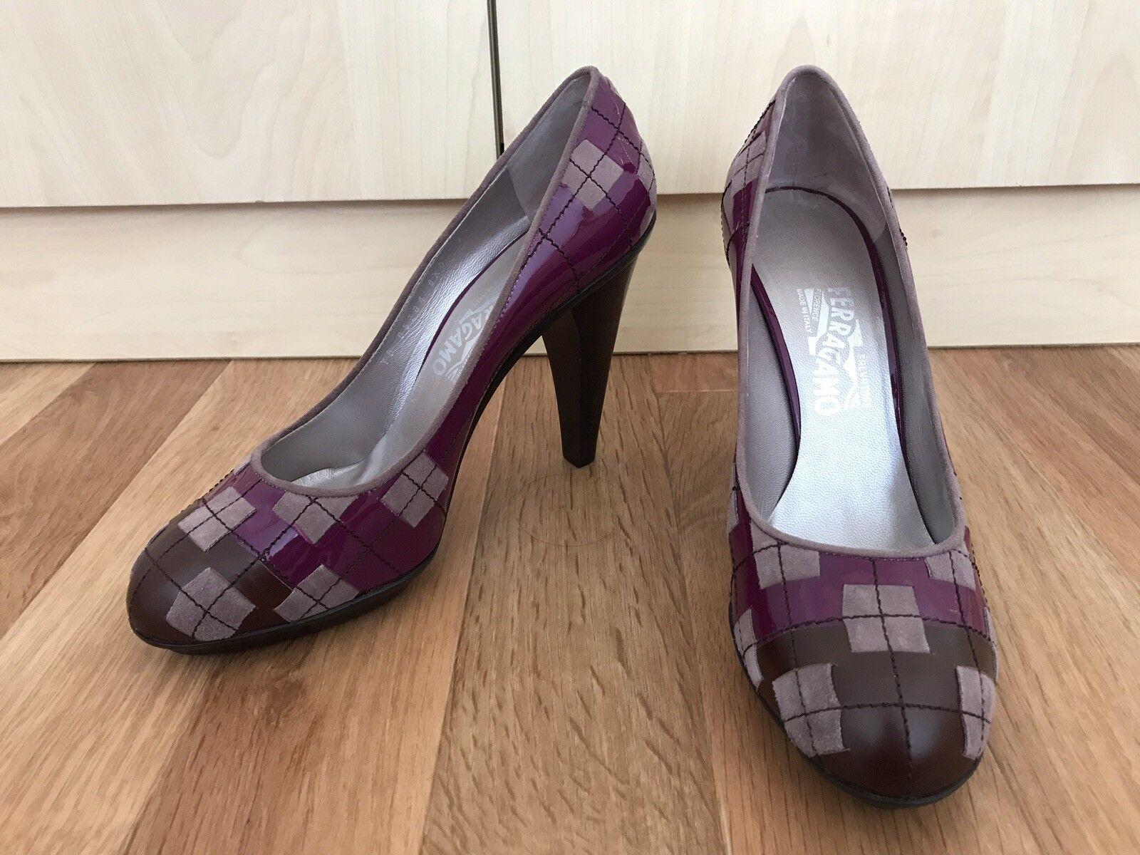 Salvatore Ferragamo  Chaussures Escarpins talons hauts cuir marron violet taille 40 NEUF