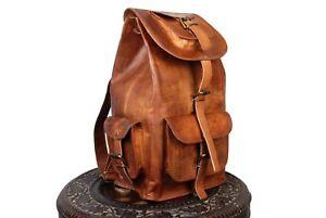 Bag-Leather-Goat-Backpack-S-Men-Rucksack-Laptop-Vintage-Messenger-Brown-Genuine