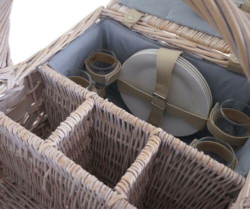 Gris Panier Garni-Set hwc-b12 pour 4 personnes porcelaine verre acier inoxydable