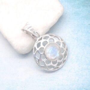 Mondstein-weiss-blau-rund-Nostalgie-Design-Anhaenger-925-Sterling-Silber-neu