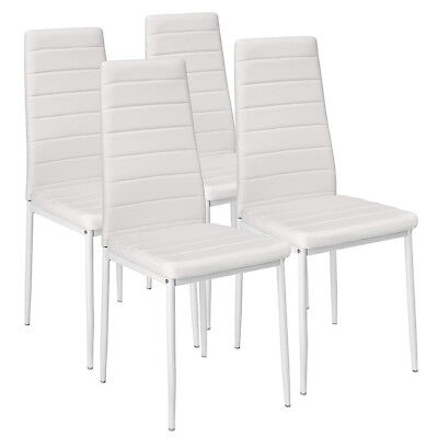 Set 4 Sedie Moderne sala Pranzo Salotto Cucina Seduta Imbottita Ecopelle Bianco | eBay