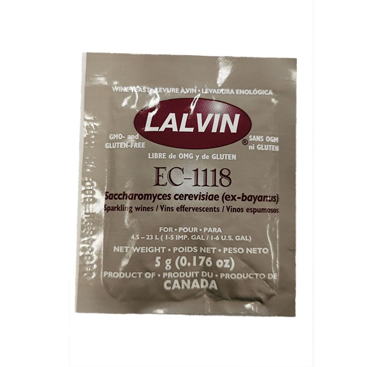 2 x LALVIN/LALLEMAND EC-1118 Premium Wine Yeast 5g pack