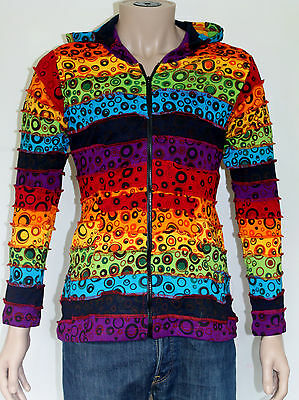 Fairtrade Hippie Funky Boho Gypsy Rainbow Patchworks Cotton Hoody Jacket Nepal