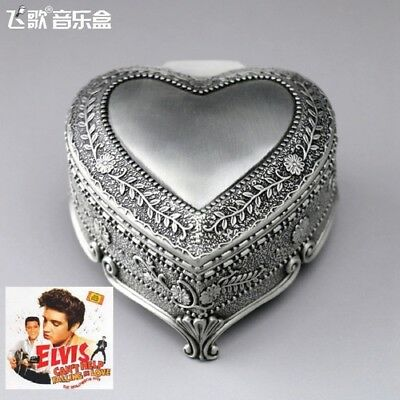 SANKYO TIN ALLOY HEART SHAPE MUSIC BOX ♫  CAN/'T HELP FALLING IN LOVE ♫