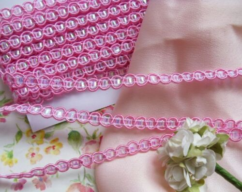 5 Yards 6.5 MM Pink Fancy Braid Insert Pearly White Matte Trims T171