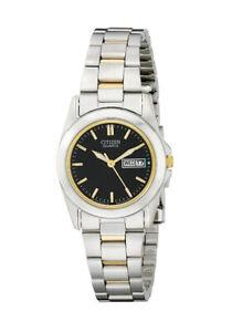 Citizen-Women-039-s-EQ0564-59E-Quartz-Black-Dial-Two-Tone-Bracelet-28mm-Watch