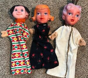 Lot-Of-3-Vintage-Germany-Rubber-Head-Hand-Puppets-Mr-Rogers-Neighborhood-Style