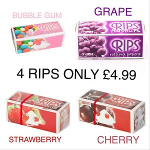 4-X-RIPS-FLAVOURED-CIGARETTE-ROLLING-PAPERS-CHERRY-S-BERRY-BUBBLE-GUM-GRAPE