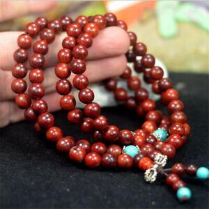 6mm-Red-sandalwood-108-Buddha-Beads-Bracelet-mala-Buddhism-Handmade-Unisex