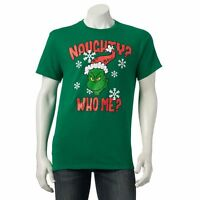 Dr Seuss The Grinch Christmas Tee Ugly Sweater T Shirt Naughty Who Me Santa Hat