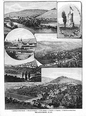 Kocher**kochertal**6 Ansichten**1894** Clear-Cut-Textur Antiquitäten & Kunst