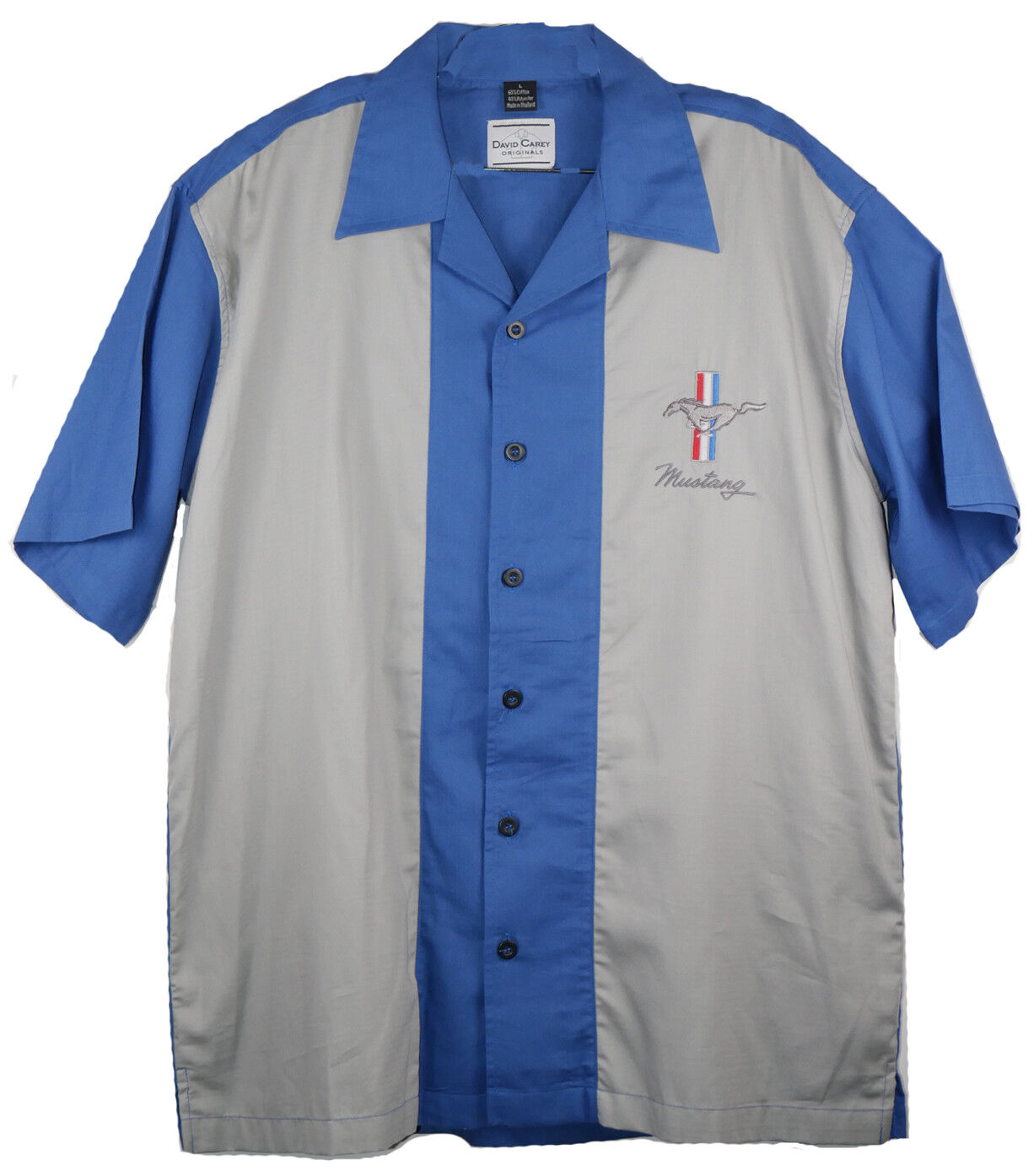 David Carey Iconic Ford Mustang Pony Club Crew Bowling Shirt Button Down
