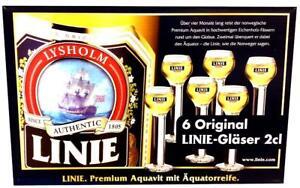 LINIE-AQUAVIT-AKVAVIT-6-ORIGINAL-GLASER-2-CL-NEU-OVP