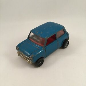 Vintage-Old-Corgi-British-Blue-Leyland-Mini-1000-Red-Seats-Diecast-Model-Toy-Car