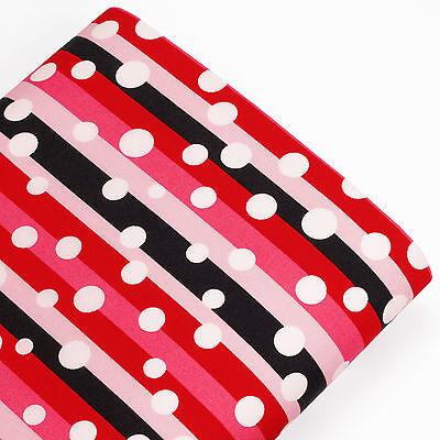 FQ. WHITE Retro POLKA DOT SPOT on MULTI-COLOURED STRIPED 100% Cotton Fabric VK56
